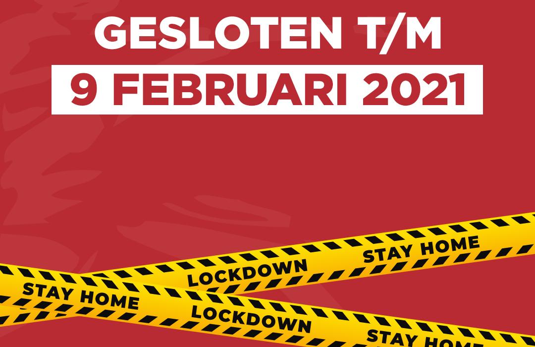 Lockdown | Gesloten t/m 9 februari 2021 | Coronel Sports Bunnik